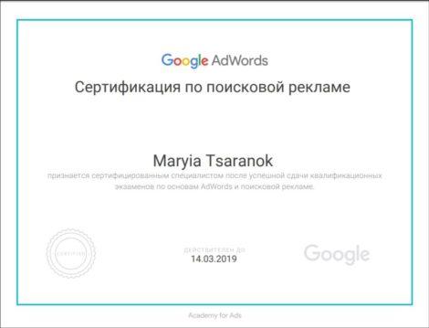 Реклама в поисковой сети Мария Царенок