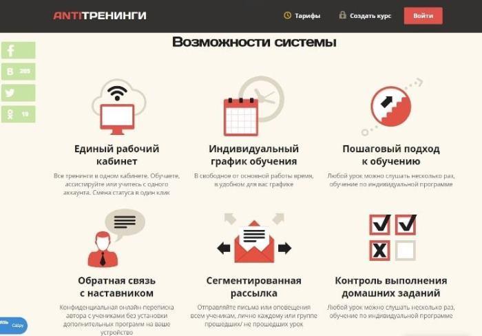 Платформы для онлайн-школы. Antitreningi - АнтиТренинги